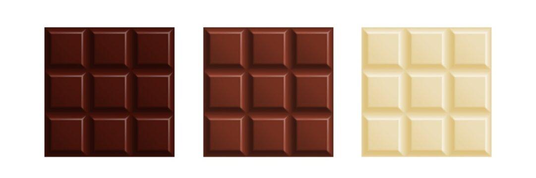 Milk, dark and white chocolate bars set