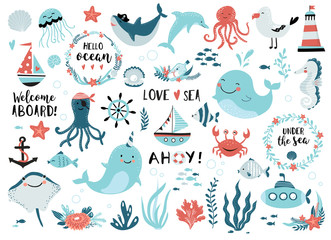 Under the sea set  cute whale, narwhal, ship, lighthouse, anchor, marine plants and wreaths, quotes and other.  Perfect for scrapbooking, greeting card, party invitation, poster, tag, sticker kit.