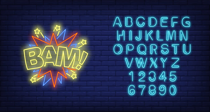 Bam lettering neon sign. Word with bang shapes and stars on brick wall background. Vector illustration in neon style for billboards, banners, party invitation