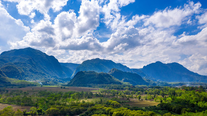 Wall Mural - Aerial view of Doi Nang Non mountains or Thai cave Tham Luang at Chiang rai, Thailand.