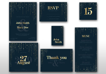 Dark Blue Wedding Suite Layout with Gold Accents