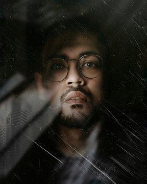 man wearing glasses illustration