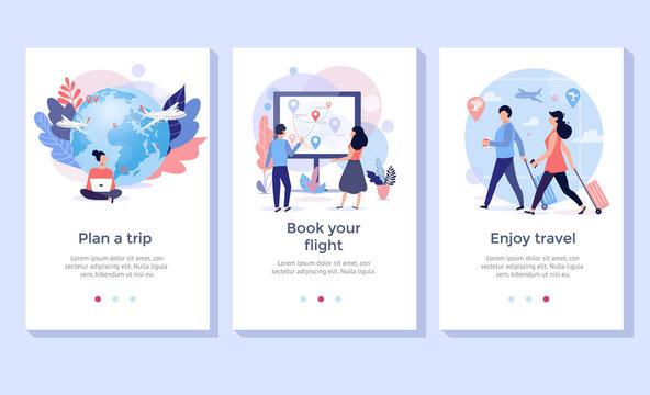 Book your flight online illustration set, perfect for banner, mobile app, landing page
