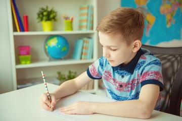 Little smart school boy making  homework at desk in room