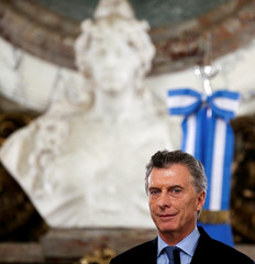 Argentina's President Mauricio Macri looks on at the Casa Rosada government house in Buenos Aires