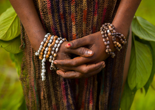 Hands Of A Chimbu Tribe Girl During Mt Hagen Sing Sing, Western Highlands, Papua New Guinea