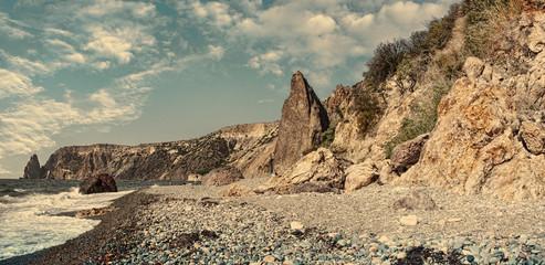 Black Sea Coast, Jasper Beach, Cape Fiolent, Sevastopol, Crimea, Russia
