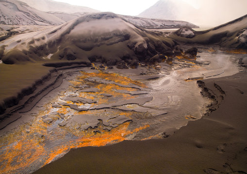 Ashes After A Volcanic Eruption In Tavurvur Volcano, Rabaul, New Britain Island, Papua New Guinea
