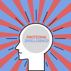 Text sign showing Emotional Intelligence. Business photo showcasing Self and Social Awareness Handle relationships well Outline Silhouette Human Head Surrounded by Light Rays Blank Text Space