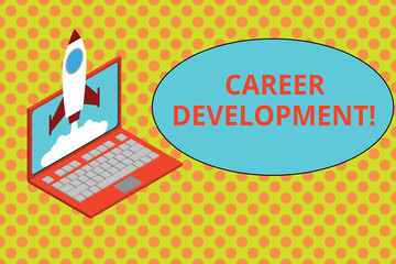 Text sign showing Career Development. Business photo showcasing Lifelong learning Improving skills to get a better job Rocket launching clouds laptop background. Startup project growing. SEO