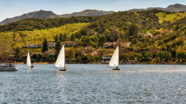 Panoramic view of sailboats in Westlake lake, in the upscale community of Westlake Village in southern California.