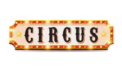 Vintage circus banner with bright bulbs on white background.