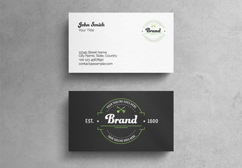 Vintage Restaurant Business Card Layout with Graphic Accents