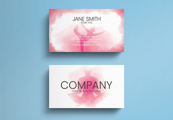 Pink Watercolor Yoga Business Card Layout