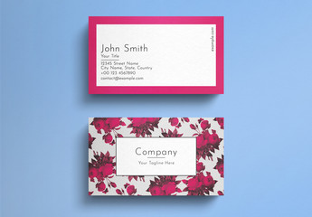 Business Card Layout with Graphic Red Roses Elements
