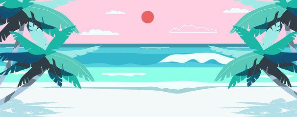 Vector illustration of a beach and a sea coast landscape. Creative summer banner or landing page for tour operator or travel agency. Summer theme background.