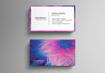 Blue And Pink Business Card Layout with Colorful Abstract Floral Design