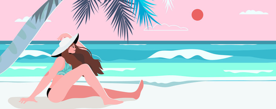 Summer theme banner, flyer with a beach, sea landscape and a woman watching sunset. Vector illustration of a tropic island, palm tree, white sand and ocean. Creative and beautiful summer background.