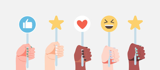 Hands holding signs with different emoji, like and love icons and rating stars isolated on a bluelight grey background. Vector illustration of people opinion, communication and satisfaction signs.