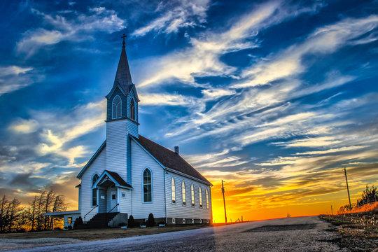 Ellis County, KS USA - A Lone Church at Dusk in the Western Kansas Prairie