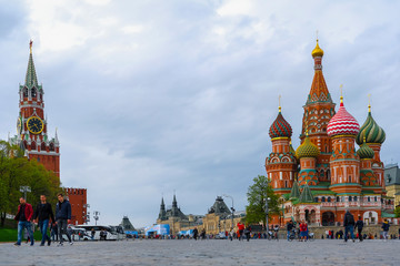 Fotobehang Moskou Moscow, Russia - May, 4, 2019: image of Cityscape with St. Basil Cathedral in Moscow