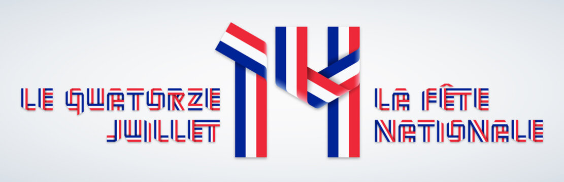 July 14, France National Bastille day congratulatory design with French flag colors. Vector illustration.