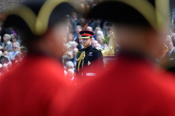 Britain's Prince Harry reviews Chelsea Pensioners during the Founder's Day Parade at the Royal Hospital Chelsea