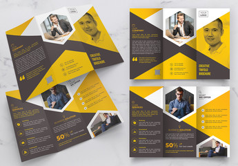 Trifold Yellow Brochure Layout with Hexagon Geometric Photo Masks