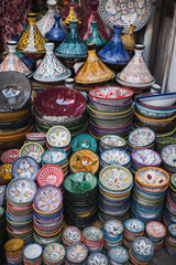 Wall Murals Nepal Colorful bowls and tagines at a market in marrakech, morocco
