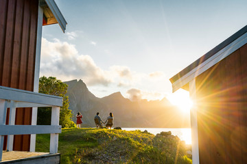 Couple in love photographed by girl in Lofoten