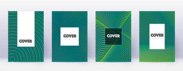 Hipster brochure design template set. Green abstra
