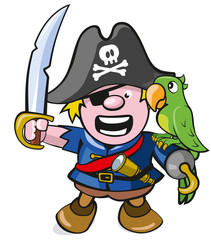 niedlicher Pirat mit Säbel und Papagei