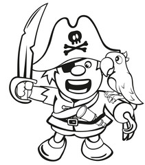 Malvorlage niedlicher Pirat mit Säbel und Papagei