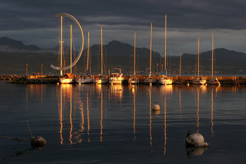Sunset in Ouchy port, Lausanne, Switzerland