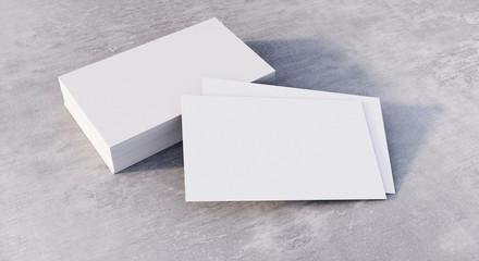 Leere Visitenkarten mit Stapel - Hellgrauer Stein