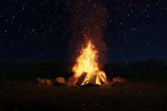 Lagerfeuer mit Steinen umringt vor Sternenhimmel  bei Nacht. 3D Rendering