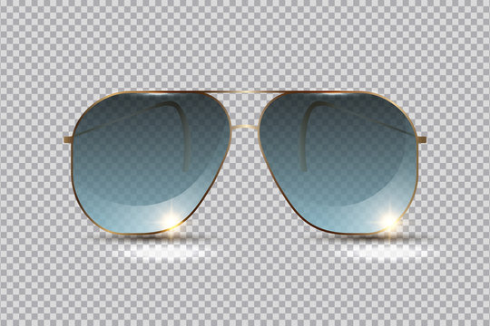 Fashionable sunglasses for relaxing on the beach in summer, isolated on transparent background, layout element for design. Vector illustration.