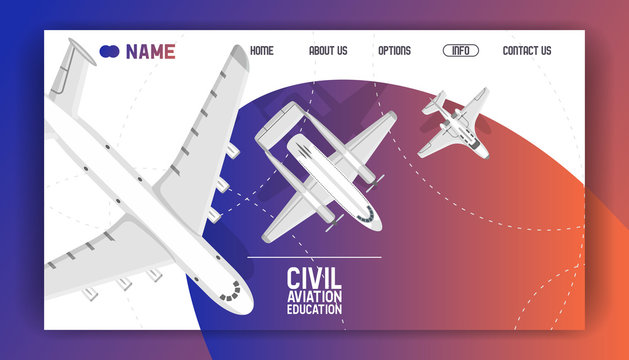 Flight civil aviation training academy landing page. Education aircraft commercial banner vector illustration. Plane flying airfield private transportation business.