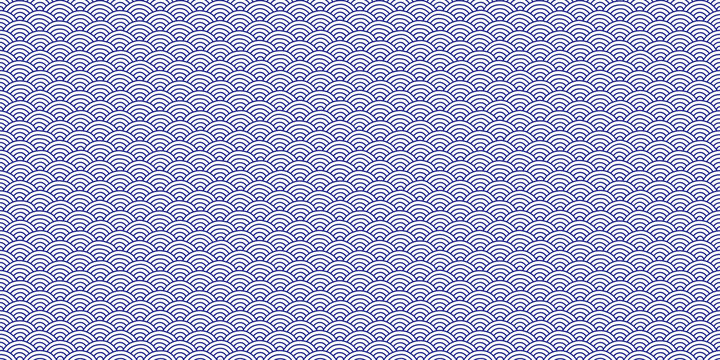 Lilac Sky Seamless Seigaiha Pattern. Traditional Japan Background. Oriental Asia Ornament Texture. National China Backdrop.