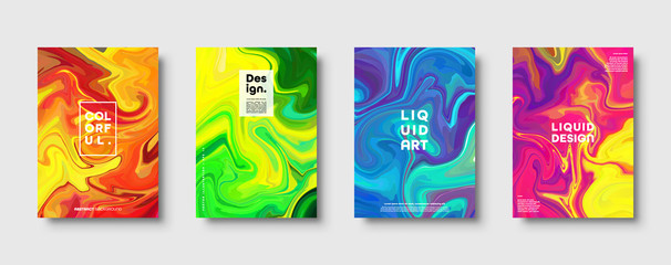 Colorful abstract geometric background. Liquid dynamic gradient waves. Fluid marble texture. Modern covers set. Eps10 vector. Fototapete