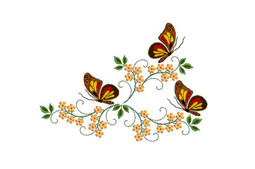 Tuinposter Vlinders Pattern for embroidery with butterflies on twisted stems with leaves and yellow flowers on white background