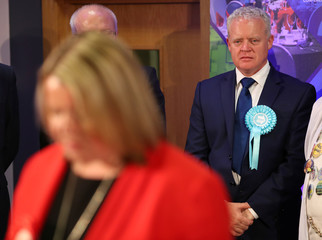 Brexit Party candidate Mike Greene reacts as Labour Party candidate Lisa Forbes speaks after she won the Peterborough by-election at the KingsGate Centre in Peterborough