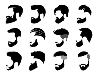 Men's Beard and Hair style Icon set for barber and hair cut logo and men fashion style - Vector.