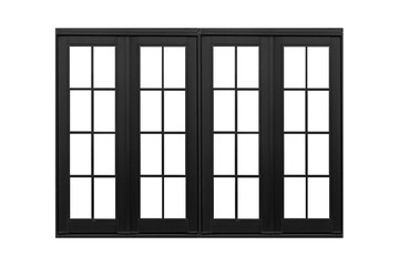 Black aluminum window frame isolated on white background