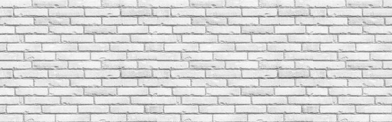 Panorama of White grunge brick wall background seamless and texture