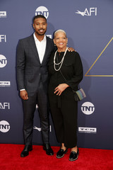 Michael B Jordan and his mother arrive at the 47th AFI Life Achievement Award gala honoring actor Denzel Washington in Los Angeles