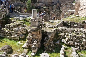 Ancient ruins in the courtyard of Pools of Bethesda in the old city of Jerusalem, Israel Wall mural