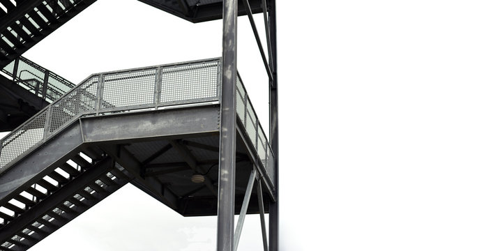 Tall metal gray staircase outside