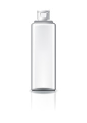 Fototapeta Blank clear square cosmetic bottle with white cap lid for beauty or healthy product. Isolated on white background with reflection shadow. Ready to use for package design. Vector illustration.