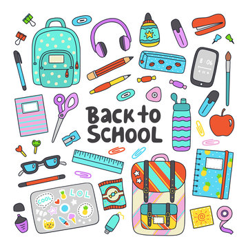Back to school hand drawn flat vector set. Education icons, design elements in cartoon style.